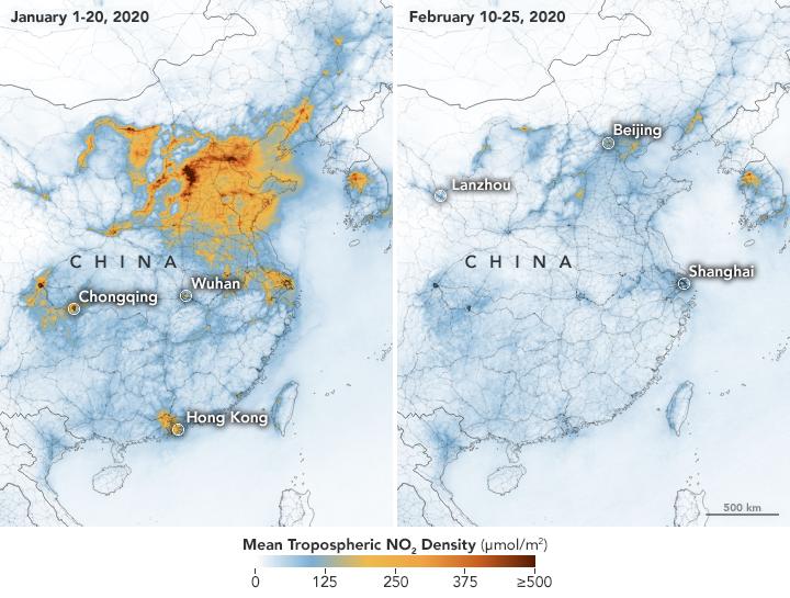 NASA inregistreaza o scadere uriasa a poluarii din China dupa izbucnirea coronavirusului