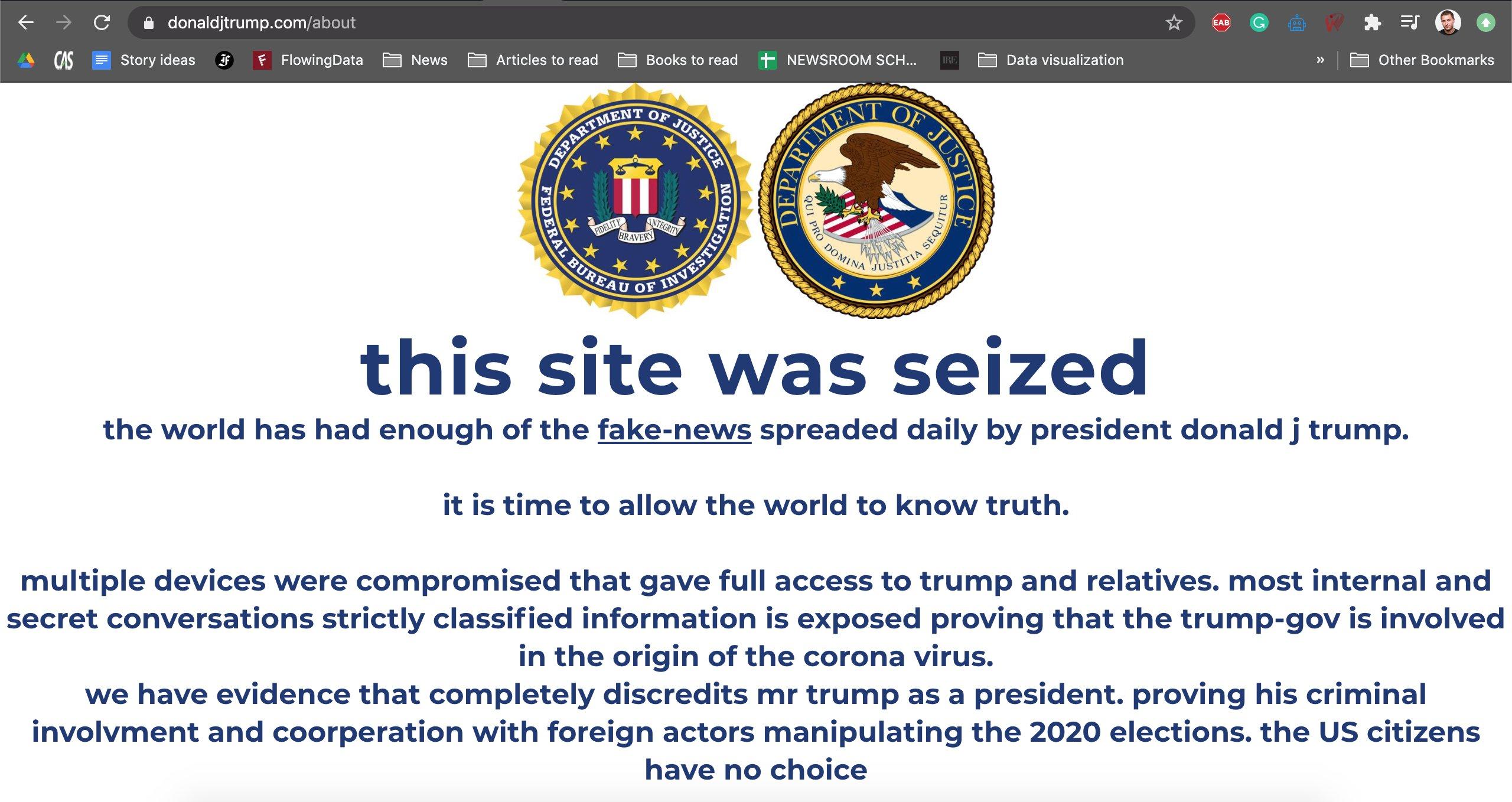 Site-ul de campanie al lui donald trump piratat